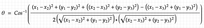 angle between three points formula